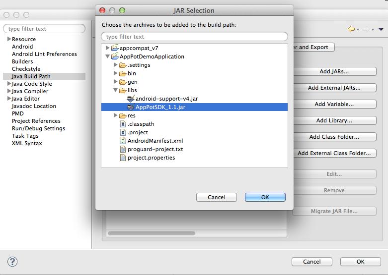 AppPot SDKをビルドパスに追加