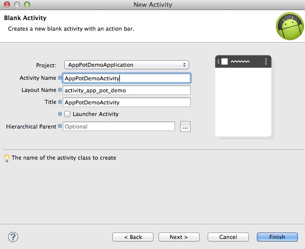 AppPotDemoApplicationというアプリをプロジェクトを新規作成して、Activityを作っています